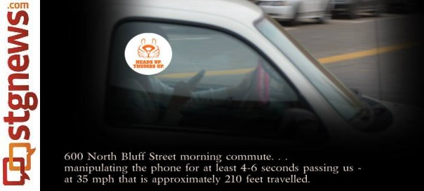 An example of the one of the photos of texting drivers taken by St. George Police, St. George, Utah, December 2013 | Photo courtesy of the St. George Police Department, St. George News