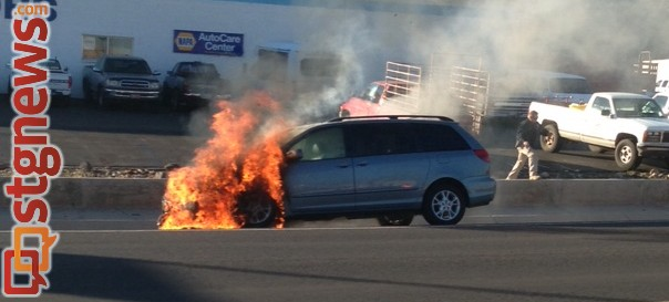 Vehicle fire on Bluff Street, St. George, Utah, Dec. 5, 2013 | Photo courtesy of Anonymous, St. George News
