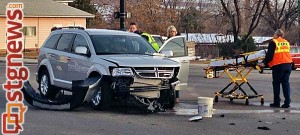 A woman was transported to the Dixie Regional Medical Center after a three-car collision on Telegraph Street, Washington, Utah, Dec. 17, 2013 | Photo by Kimberly Scott, St. George News