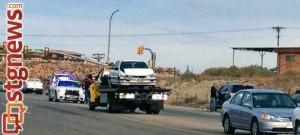 Accident near River Road, St. George, Utah, Jan. 29, 2014 |Photo by Scott Heinecke, St. George News