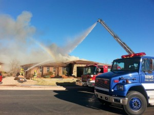 Residential fire at 110 North Park Ave Way in The Palisades neighborhood of Ivins, Utah, Jan. 19, 2014 | Photo by Drew Allred, St. George News