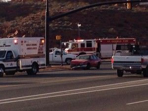 A two-car accident on Red HIlls Parkway, St. George, Utah, Jan. 21, 2014   Photo by Kimberly Scott, St. George News
