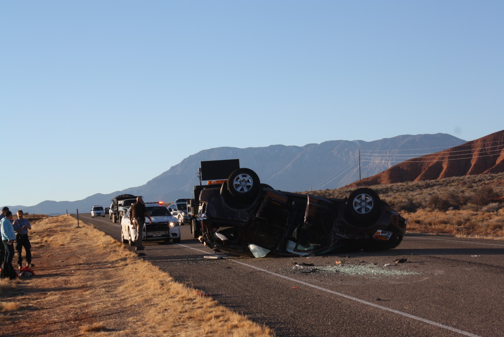 A rollover on state Route 9 near mile post 16 occurred just before 3:11 p.m. LaVerkin, Utah, Jan. 1, 2014 | Photo by Reuben Wadsworth, St. George News