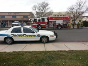 Emergency crews responded to a a possible structure fire that ended up being a smoking HVAC unit, St. George, Utah, Jan. 7, 2014 | Photo by Drew Allred, St. George News