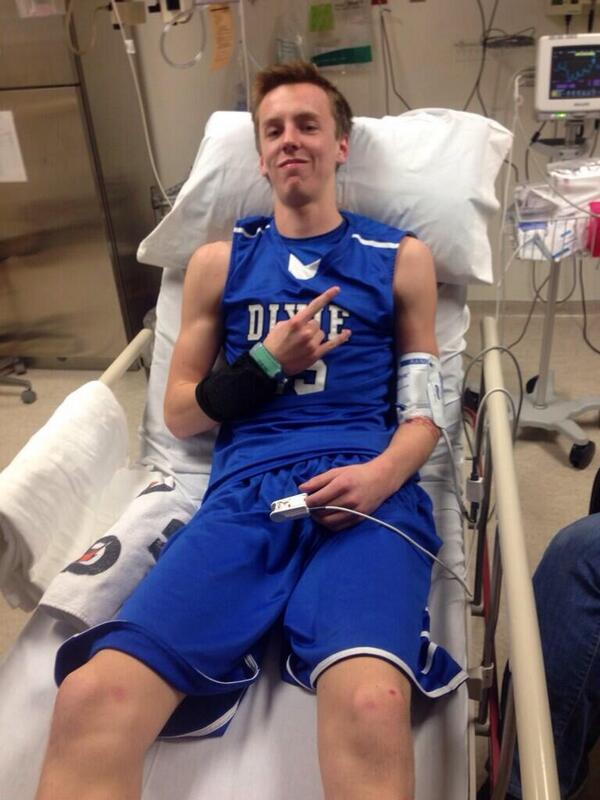 Sam Guymon Tweeted this photo from Dixie Regional Medical Center after Wednesday's injury. He was later released from the hospital.