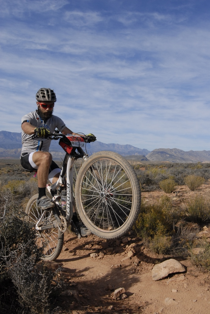 Bill West on Frog Hollow  mountain bike race, Virgin, Utah, Nov. 3 2013 | Photo by Crawling Spider Photography, courtesy of Cimmaron Chacon, St. George News