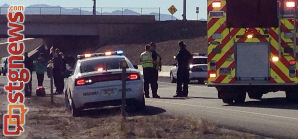 Pedestrian hit by southbound vehicle on Interstate 15 near Exit 5 in St. George, Utah, Jan 2, 2014 | Photo by Natalie Barrett, St. George News
