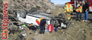 I-15 SB rollover at MP 22, Leeds, Utah, Jan. 21, 2014 | Photo by UHP Trooper Mark Cooper, St. George News