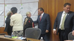 Bette Arial (left-center) being welcomed to the St. George City Council by Councilman Gil Almquist (center-right), St. George, Utah, Jan. 23, 2014 | Photo by Mori Kessler, St. George News