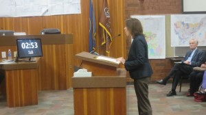 Tara Dunn speaking to the city council. She said she be a voice for people who felt they were not adequately represented by the city council, such as the animal rescue advocates and the city's non-Mormon population, St. George, Utah, Jan. 23, 2014 | Photo by Mori Kessler, St. George News