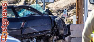 One vehicle accident crashing into the bridge at  5000 West and State Street, Hurricane, Utah, Jan. 28, 2014   Photo by Jeremy Crawford, St. George News