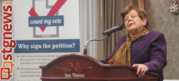 Former Utah Gov. Olene Walker speaking at a Count My Vote petition signing event held at the Best Western Abbey Inn, St. George, Utah, Jan. 13, 2014 | Photo by Mori Kessler, St. George News