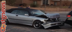 Damage from a Three-car accident at 1850 S. River Rd., St. George, Utah, Jan. 22, 2014 | Photo by Scott Heinecke, St. George News