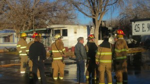 The St. George Fire Department responded to a structure fire that gutted a mobile home at 425 East 900 South in an early morning blaze, St. George, Utah, Jan. 18, 2014 | Photo by Mori Kessler, St. George News