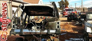 Vehicle after it caught on fire in the back lot of Dixe 4 Wheel Drive, St. George, Utah, Jan. 21, 2014 | Photo by Drew Allred, St. George News
