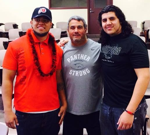 Thor Katoa (far left) and Guillermo Fiero (far right) pose with Pine View coach Ray Hosner Wednesday after signing to play coillege football | Photo courtesy Ray Hosner
