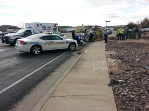 Emergency responders at a vehicle rollover near 352 E., Riverside Drive, St. George, Utah, Feb. 4, 2014 | Photo by Drew Allred, St. George News