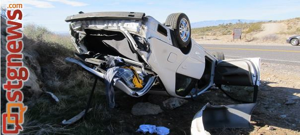 Damage to the Camry after it rolled over on Old Highway, St. George, Utah, April 13, 2013 | Photo by John McMahon courtesy of UHP, St. George News