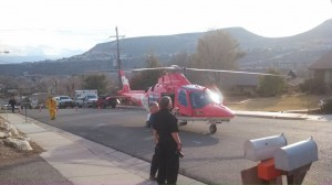 St. George Fire, Life Flight, and other emergency personnel respond to injured climber at Bluff Street Cracks, St. George, Utah, Feb. 7, 2014   Photo by Mori Kessler, St. George News
