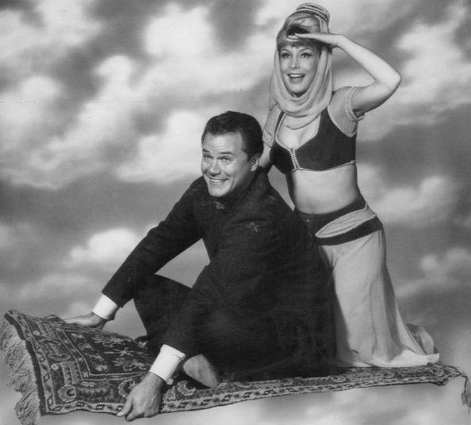 "L-R: Actors Larry Hagman, Barbara Eden, ""I Dream of Jeannie"" TV show, publicity photo circa 1965"