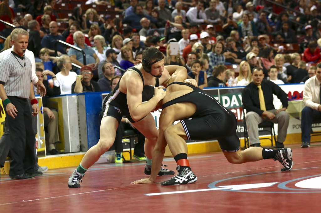 PV's Mikaio Schwalger (right) and DH's Cody Stevenson, 3A State Wrestling Championships, West Valley, Utah, Feb. 15, 2014 | Photo by Shane Marshall, for St. George News