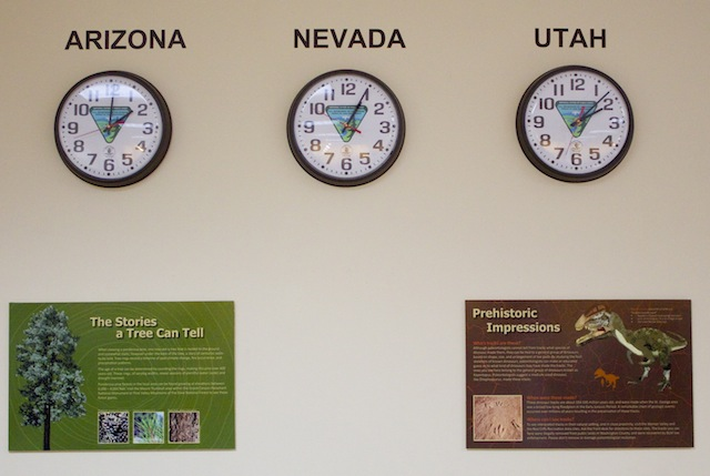 Three clocks in the D/ASIA-BLM office tell the time of Arizona, Nevada and Utah, St. George, Utah, Feb. 21, 2014 | Photo by Rhonda Tommer, St. George News