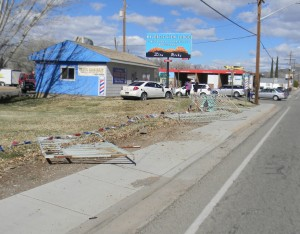 A woman driving northbound on State Street through LaVerkin passed out and crashed into a sign post, LaVerkin, Utah, Feb. 10 | Photo courtesy of the LaVerkin Police Department, St. George News