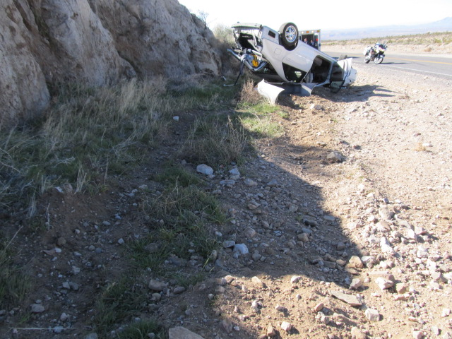 Camry rollover on the Old Highway, St. George, Utah, April 13, 2013 | Photo by John McMahon, St. George News
