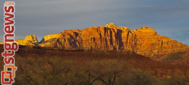 Mount Kinesava at sunset, taken from Grafton, Utah, March 25, 2013 | Photo by John Teas, St. George News