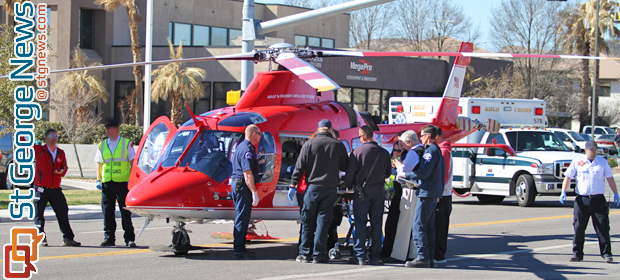 A 54-year-old man was transported by Life Flight to Las Vegas for care after falling 50 feet at a construction site, St. George, Utah, Feb. 21, 2014 | Photo by Dave Amodt, St. George News