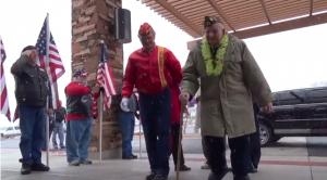 Pearl Harbor survivor and veteran Lee Warren arrives at the Southern Utah Veterans Home's Pearl Harbor survivors ceremony, Ivins, Utah, Dec. 8, 2013 | Photo by Scott Heinecke, St. George News