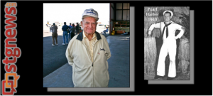"""Pearl Harbor survivor Lee """"The Flagman"""" Warren. L: at Armed Forces Celebration, Western Sky Aviation Warbird Museum, St. George Municipal Airport. St. George, Utah, May 11, 2013. R: Pearl Harbor 1940 