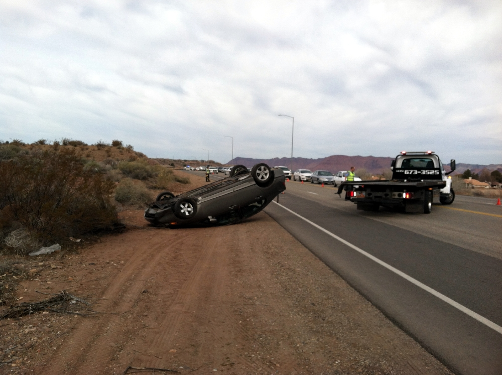 Vehicle rollover on Dixie Drive, St. George, Utah, Feb. 15, 2014 | Photo by James Thayn, St. George News