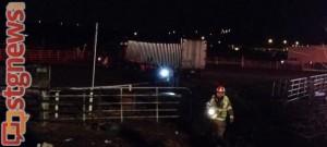 Semi crashes through the fence at Cox Farm on Riverside Drive, St. George, Utah, Feb. 6, 2014 | Photo by Scott Heinecke, St. George News