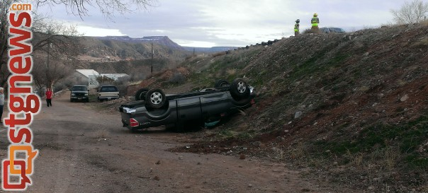 A Washington County Sheriff's lieutenant was arrested on suspicion of DUI following a rollover off state Route 17, Washington County, Feb. 9, 2014 | Photo courtesy of the Utah Highway Patrol, St. George News