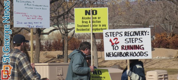 Bloomington residents protests the Steps Recovery drug and alcohol treatment facility opening in their neighborhood, St. George, Utah, Jan. 11, 2014 | Photo by Mori Kessler, St. George News