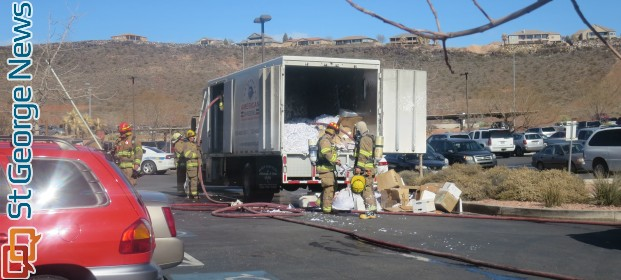 Fire crews respond to a shredder truck fire at Coral Desert Rehabilitation, St. George, Utah, Feb. 27, 2014 | Photo by Mori Kessler, St. George News