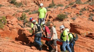 Search and Rescue teams from Washington County transport at hiker with broken leg form a remote location, March 11, 2012 | Courtesy of the Washington County Sheriff Search and Rescue