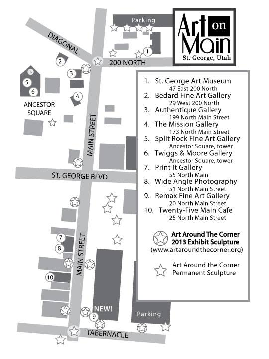 Art on Main Map. Click on image to enlarge.