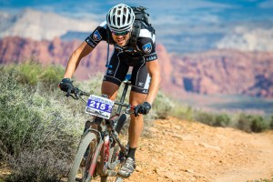 Racer rides the course of the True Grit Epic Race, St. George, Utah, March 15, 2014 | Photo by Dave Amodt, St. George News