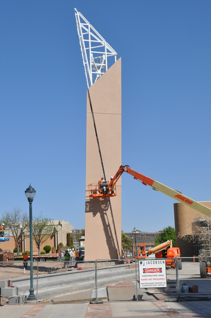 A crew with Jacobsen Construction works on University Tower on the DSU campus which will be dedicated during a public ceremony Apr. 10, St. George, Utah | Photo courtesy of DSU, St. George News
