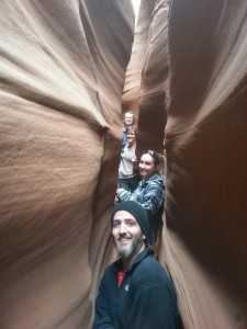 Front to back, Stephen Darveaux, Rebekah Kringle, Nicole Reynolds, Josh Kitchen, the slot canyon, Spooky gulch, Grand Staircase-Escalante National Monument, Utah Feb. 15, 2014 | Photo by Drew Allred, St. George News