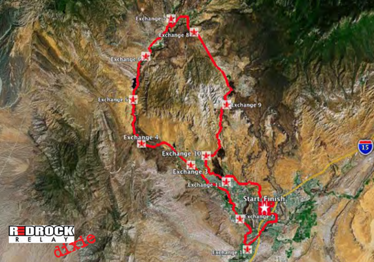 Red Rock Relay Dixie Course Map - Click on image to enlarge