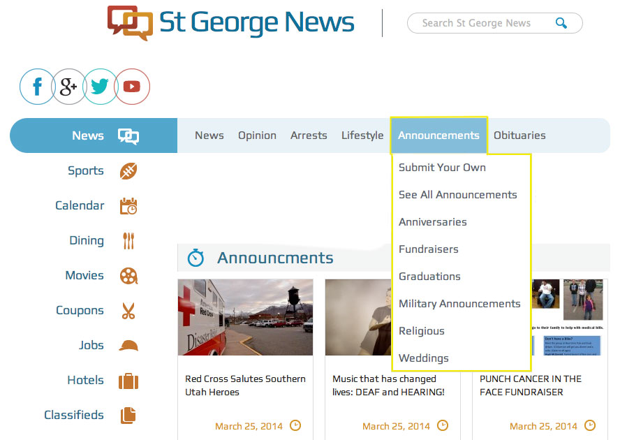 """St. George News Home Page with """"Announcements Section"""" pull-down menu"""