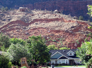 The Watchman landslide in Springdale was first noticed in 2005 and continues to move intermittently, Springdale, Utah, 2005 | Image courtesy of Utah Geological Survey