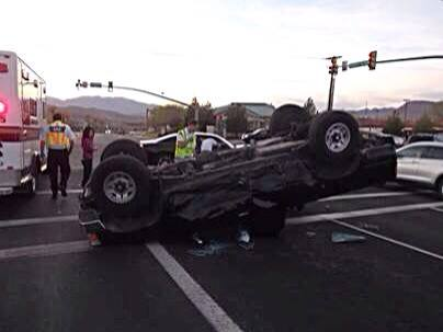 Car accident results in rollover at Sunset Boulevard and Dixie Drive, St. George, Utah, March 16, 2014   Photo courtesy of the St. George Police Department, St. George News