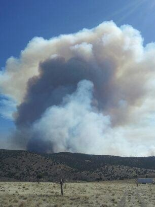 Smoke rising from the Roundabout Fire, Horse Canyon, Utah, Oct. 2, 2012 | Photo courtesy of Mike Melton