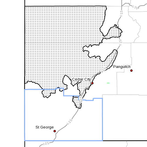 Dots denote affected areas of Washington County at 8:20 p.m. | Image courtesy of National Weather Service, St. George News | Click map to enlarge