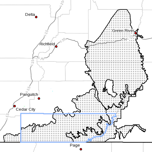 Dots denote affected areas of Kane County at 8:20 p.m. | Image courtesy of National Weather Service, St. George News | Click map to enlarge