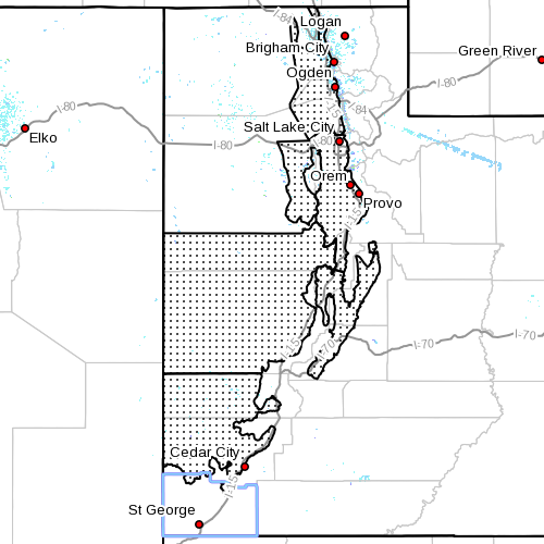 High wind watch advisory. Dots denote affected areas in Utah as of April 21, 2014, 7:25 a.m. | Image courtesy of National Weather Service, St. George News | Click on image to enlarge